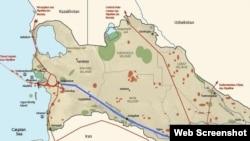 Türkmənistanın neft və qaz kəmərinin xəritəsi
