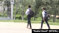Tajikistan,Khatlon region, a view of students going to school in Yovon district, 23May2018