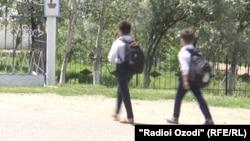 Tajikistan,Khatlon region, a view of students going to school in Yovon district, 23May2018
