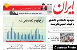 "Iran Daily first page with a mix of pro-Rouhani and ""reformist"" content, 22/06/2016"