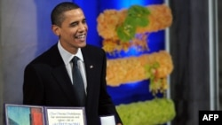 U.S. President Barack Obama, seen here at the award ceremony in Oslo, was selected for the prize in October.