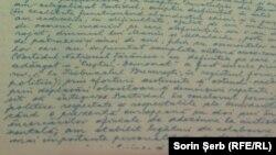 Pagină din testament expusă la București