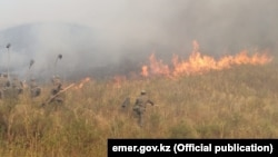 Firefighting operations by Kazakh emergency services are still under way. (file photo)