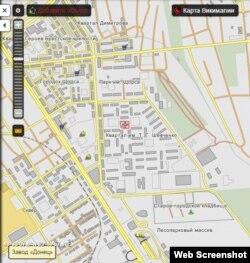 Хрестиком позначено дитячий майданчик на кварталі Шевченка, з якого бойовики обстрілювали Луганськ