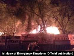 Пожар на рынке «Берекет» в Бишкеке, 13 апреля 2018 г.
