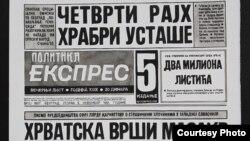 """Jedan od nagrađenih crteža Vladimira Miladinovića - Naslovna strana dnevnog lista """"Politika ekspres"""" iz 1991. godine."""