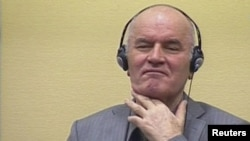Bosnian Serb ex-military commander Ratko Mladic appearing before the International Criminal Tribunal for the former Yugoslavia in the Hague