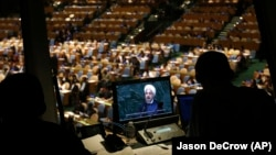 FILE - President Hassan Rouhani of Iran addresses the 69th session of the United Nations General Assembly at U.N. headquarters, Thursday, Sept. 25, 2014.