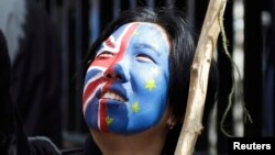 Jedan od pristalica za ostanak Velike Britanije u Evropskoj uniji, sa skupa u Londonu, 2. juli 2016.