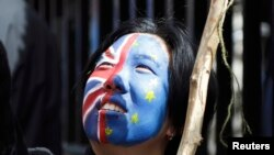 Британиянын ЕБдан чыгуусуна каршы болгондордун акциясынын катышуучусу. Лондон, 2016-жыл