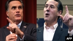 U.S. A combo photo of Republican presidential candidates Mitt Romney and Rick Santorum