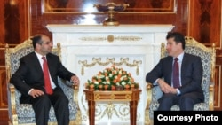 رئيس حكومة اقليم كردستان نجيرفان بارزاني ورئيس البرلمان الاتحادي سليم الجبوري