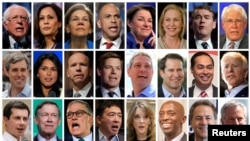 Twenty four 2020 Democratic presidential candidates are seen in a combination from file photos (L-R top row): U.S. Senators Bernie Sanders, Kamala Harris, Elizabeth Warren, Cory Booker, Amy Klobuchar, Kirsten Gillibrand, Michael Bennet and former U.S. Sen