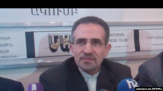 Armenia -- Iranian Ambassador Mohammad Reisi at a press conference in Yerevan. 12Feb2013