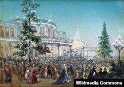 Павловский воксал 30 октября 1862 года. Празднование 25-летнего юбилея Царскосельской железной дороги.