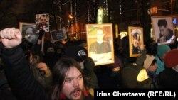 Шествие антифашистов в память об убийстве Маркелова и Бабуровой в Москве. 19 января 2012 года.