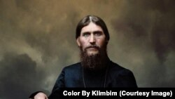 """The piercing stare of Grigory Rasputin. Shirnina says the most exciting part of coloring historical images is """"when suddenly the person looks back at you as if he's alive."""""""