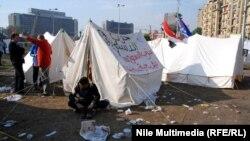 خيام الاعتصام في ميدان التحرير بالقاهرة
