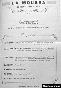Programul de concert de la Crans-Montana (Foto: coll. Rose-Noël de Bavier)