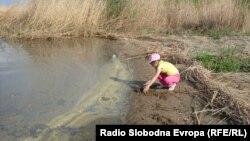 Девојче се игра на брегот на Преспанско Езеро. .