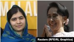 Лауреаты Нобелевской премии мира – пакистанская девушка Малала Юсуфзай (слева) и активист из Мьянмы Аун Сан Су Чжи.