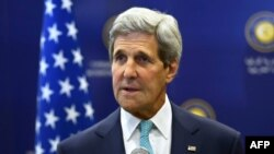 Turkey -- US Secretary of State John Kerry addresses the media prior to his meeting with Turkish foreign minister at the Ministry of Foreign Affairs in Ankara, September 12, 2014
