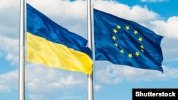 Ukraine – Ukraine and European Union Flags