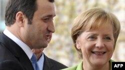 Angela Merkel și Vlad Filat la întîlnirea lor de la Berlin, în mai 2010