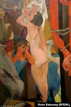 Detaliu din tabloul lui Gutuso a cărui Madonna prea realistă în nuditate a stîrnit scandal în 1941