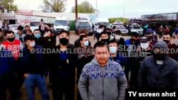 Узбекские мигранты, скопившиеся на российско-казахской границе. Май 2020 года.