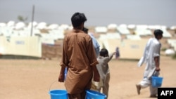 Refugees from Swat at a camp in Swabi, Pakistan
