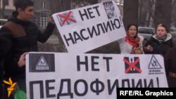 Бишкекда педофилияга қарши 2015 йилда ўтган намойишлардан бири.