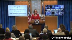 U.S. State Departmental Spokesperson Morgan Ortagus during a briefing. File photo