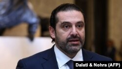 Lebanese prime minister Saad Hariri delivers a speach at the presidential palace in Baadba, on the outskirsts of the Lebanese capital Beirut, November 22, 2017