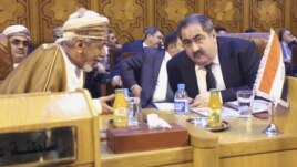 Iraqi Foreign Minister Hoshiyar Zebari (R) talks with an Omani foreign affairs representative at the Arab League foreign ministers' meeting on Syria at the Arab League headquarters in Cairo on November 12.
