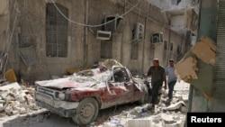 Улица Алеппо после бомбардировки
