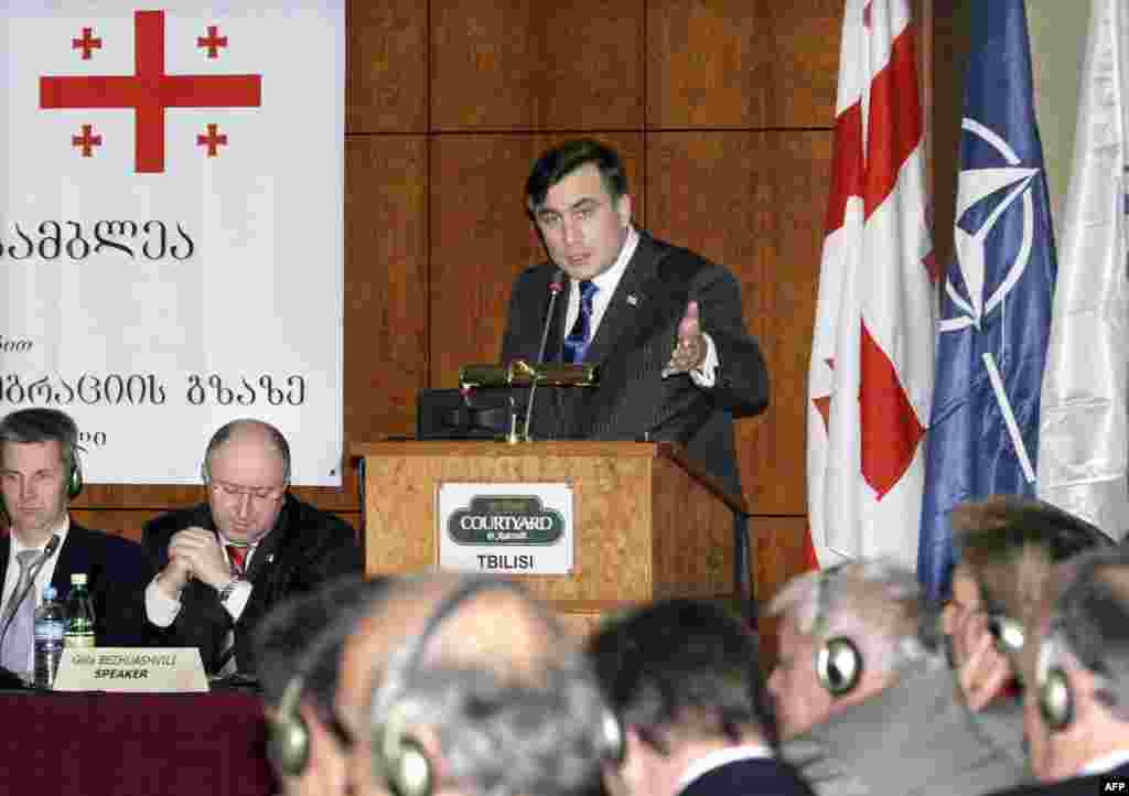 "President Mikheil Saakashvili delivers a speech during the NATO Parliamentary Assembly 65th Rose-Roth seminar in Tbilisi on April 19, 2007. Saakashvili said that in 2007 Georgia would be ready for the next stage of integration into NATO and expected to become a candidate for membership ""in the nearest months."""