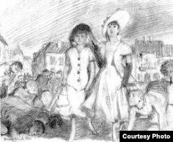 """""""Девушки на прогулке"""", рисунок Бруно Шульца"""