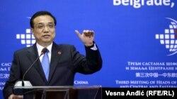 Қытай премьер-министрі Ли Кэцян Белград саммитінде сөйлеп тұр. Сербия. 16 желтоқсан, 2014 жыл.