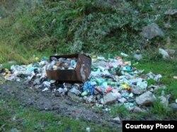 Алматының іргесіндегі Іле Алатауы ұлттық саябағы территориясында тау өзені жағасындағы қоқыс. 2013 жылдың жазы.