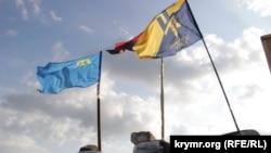 Блокпост участников гражданской блокады Крыма
