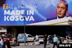 A campaign poster in Pristina for outgoing Prime Minister Ramush Haradinaj, who fared badly in the elections.