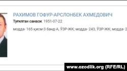 Гафур Рахимов находится в списке разыскиваемых в Узбекистане лиц.