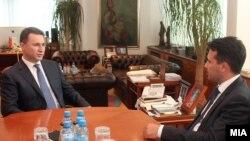 Средба на премиерот Никола Груевски со новиот лидер на СДСМ Зоран Заев.