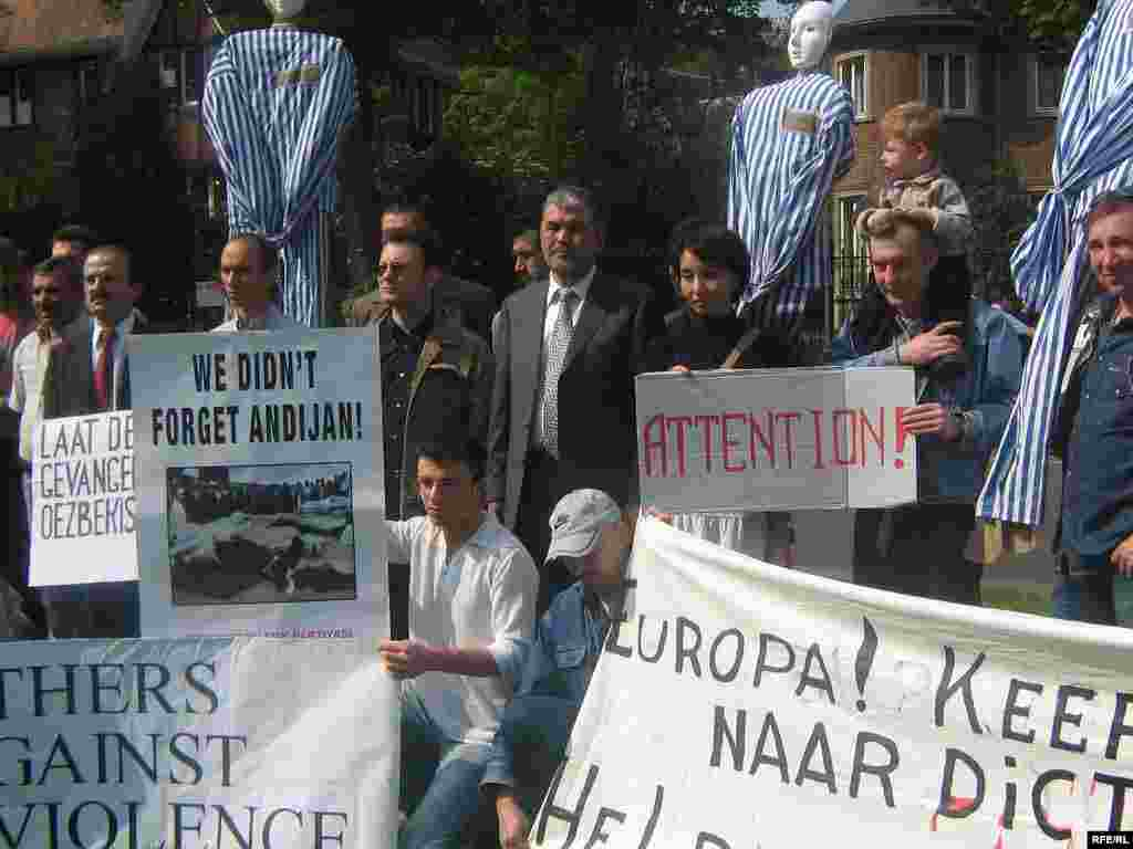 Demonstrators protest against President Karimov at the Uzbek Embassy in Brussels on the first anniversary of the bloodshed - The European Union imposed sanctions on Uzbekistan over the Andijon events and a range of other human rights abuses, but suspended the measures after Tashkent released some of its political prisoners. Uzbek and international activists continue to push for world leaders to take a stronger stand against Karimov's government.