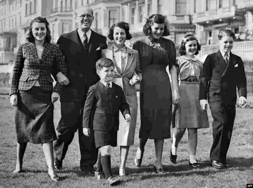 John Fitzgerald Kennedy's father, Joseph Kennedy (second left), and his mother Rose (third left), seen here in London in 1938 with JFK's siblings (left to right) Kathleen, Edward (Ted), Patricia, Jean, and Robert.