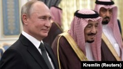 Russian President Vladimir Putin (left) and Saudi Arabia's King Salman in Riyadh during the former's much publicized visit to Saudi Arabia last year.