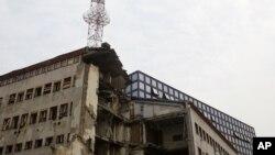 Zgrada je pogođena u vreme dok su emitovane vesti