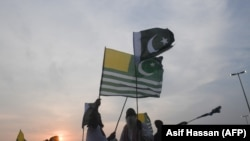 Pakistanis march in a rally in the support of Indian-controlled Kashmir during a protest in Karachi last September.