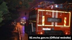 Пожарная машина в Гагаринском районе Севастополя